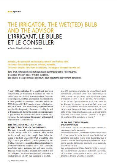 article in irrigazette written by xavier eftimakis